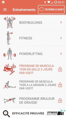 Choix des entrainements : musculation, fitness, powerlisting