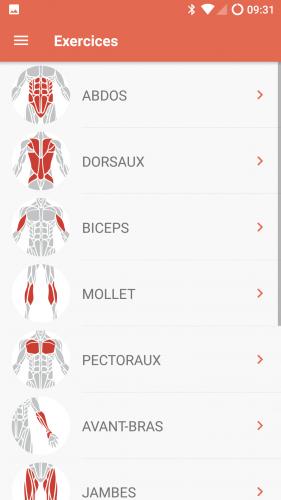 Choix d'exercices par muscule