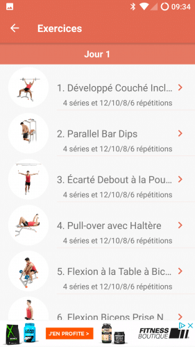 Liste des exercices de Fitness