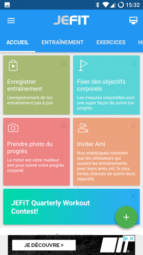 Le menu d'accueil de l'application mobile JEFIT