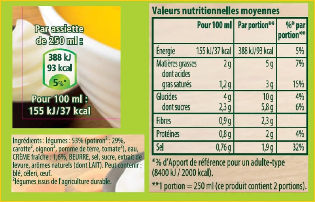 L'étiquetage nutritionnel d'une soupe Knorr