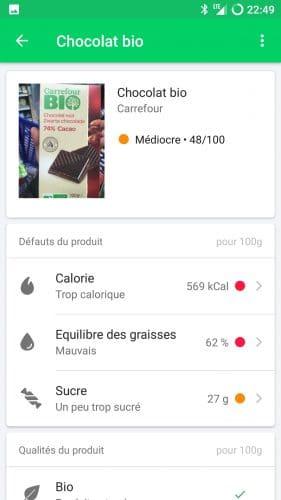 Les résultats d'un tablette de chocolat BIO sous Yuka