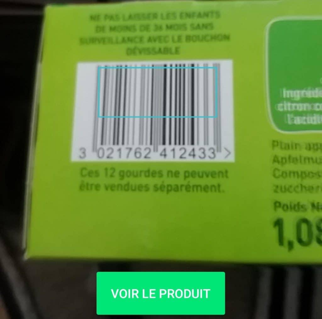 Exemple de scan d'un produit avec Yuka
