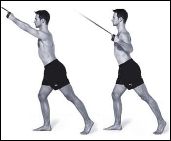 Homme réalisant un exercice pour le dos avec des élastiques