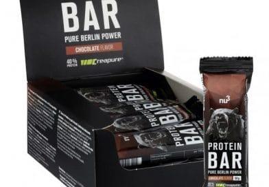 Une boite de barres protéinées (protein bar) NU3