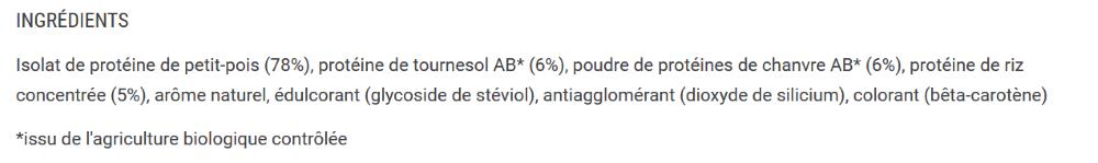 Liste des ingrédients de la protéine végétale de chez Foodspring